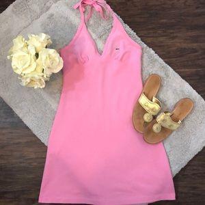 Lacoste Pique Halter Dress in Pink